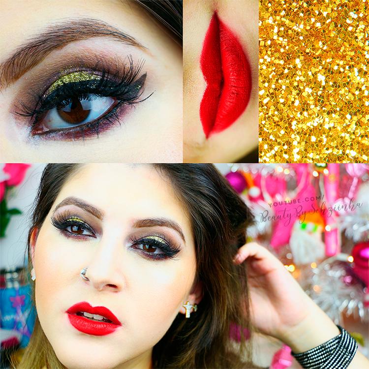 Maquiagem para o Natal: Boca vermelha e dourado